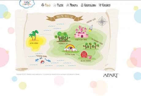 Apart Kids – storytelling, projekt graficzny, opracowanie mechanizmów gier i kodowanie strony www